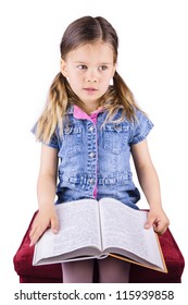A Cute Young Girl with a Book isolated on White