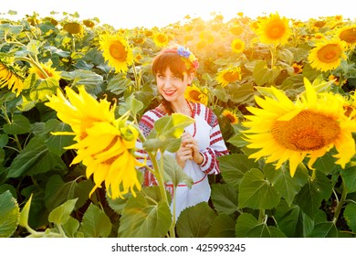 Cute young girl in national ukrainian blouse embrodery looking to camera on a sunflower field at sunset, backlight.