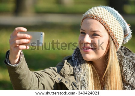 fef2f57755eb Cute Young Girl Wool Cap Taking Stock Photo (Edit Now) 340424021 ...