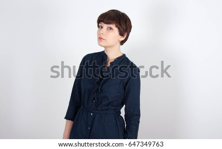 Cute Young Model Retro Short Hair Stock Photo Edit Now 647349763