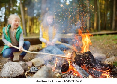 Cute young sisters roasting hotdogs on sticks at bonfire. Children having fun at camp fire. Camping with kids in fall forest. Family leisure with kids at autumn.