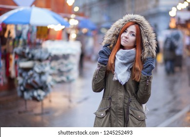 cute young woman celebrating christmas