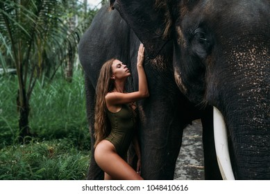 Cute young woman hugging elephant near forest. Beautiful girl model with sporty body posing in green swimsuit. Concept of zoo, tropical photoshoot