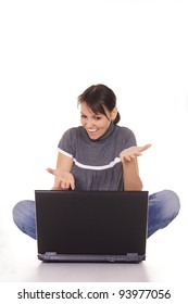 cute young woman posing with a laptop