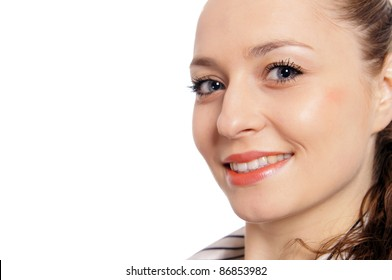 cute young woman posing on a white