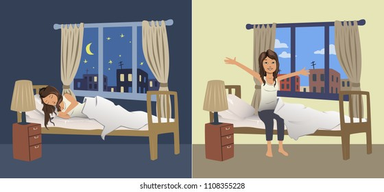 Cute young woman sleep at night in the bedroom and wake up in the morning. Illustration. Raster version.