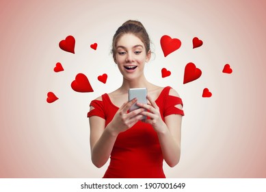 Cute young woman texting on the phone, with red hearts flying