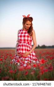 cute young woman waiting a baby