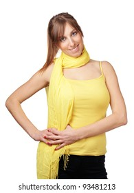 Cute young woman with yellow scarf isolated on white