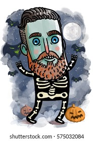 cute zombie skeleton costume halloween character