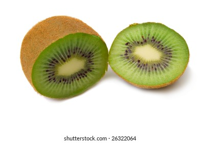 Cuted kiwi with a beautiful shadow on white. Full isolation, shallow DOF.
