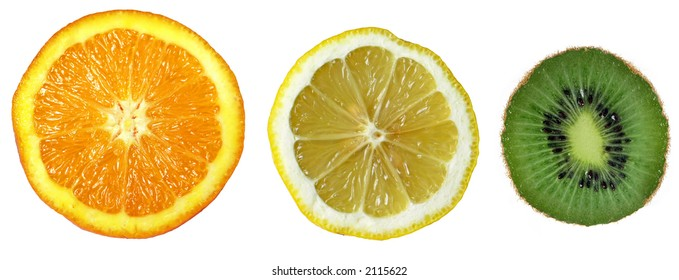 Cuted Three Tropical fruits, Orange, Lemon, Kiwi
