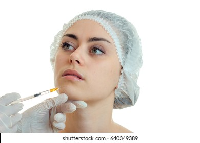 Cutie young girl with make up at plastic surgeon