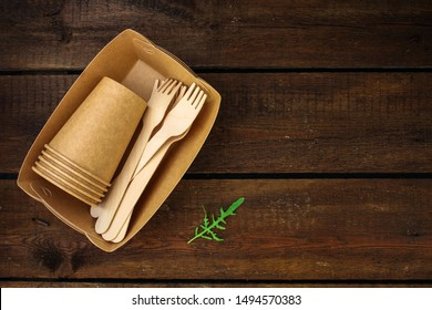 cutlery, craft paper  (biodegradable materials) menu concept. food background. copy space