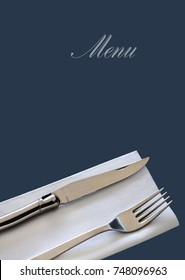 Cutlery on the layout of a restaurant menu