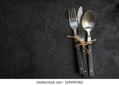 cutlery rustic, used for eating or serving (fork, knife, spoon - set). food background. copy space
