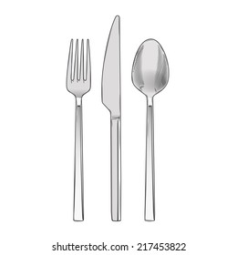 Cutlery set of fork, knife and spoon isolated on a white background. Hand drawn color line art. Cookware retro design. Raster copy