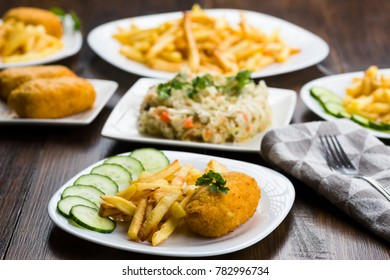 Cutlet de volaille with fries and vegetables