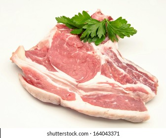 Cutlet raw beef on white background