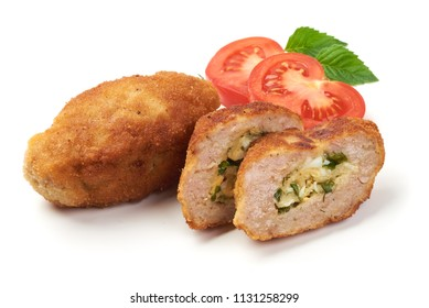 Cutlets cordon bleu with tomatoes, isolated on white background.