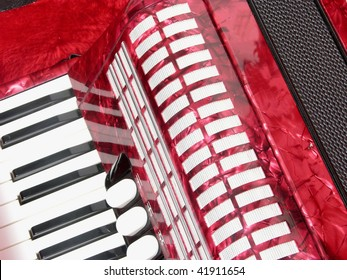 Cutout with accordion in a case for music instruments