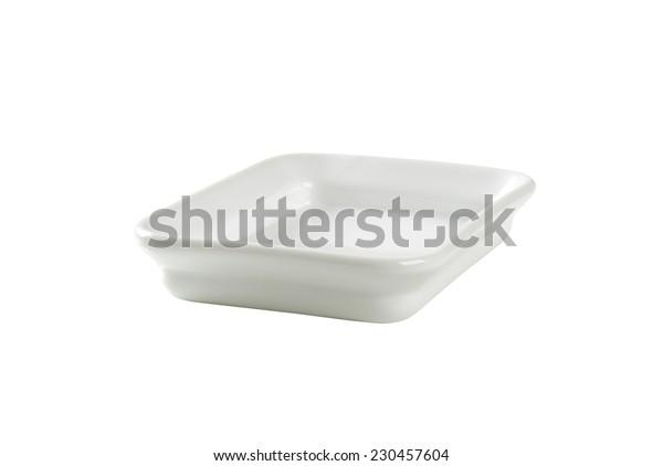 cutout of empty baking tray on white background