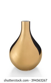 A cut-out of an empty, shiny, golden bulb vase,