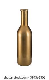 Cut-out of an empty, short, golden bottle vase.