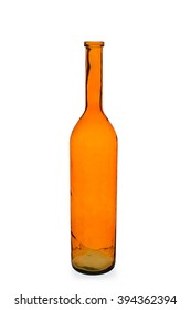 Cut-out of an empty, tall, orange bottle vase.