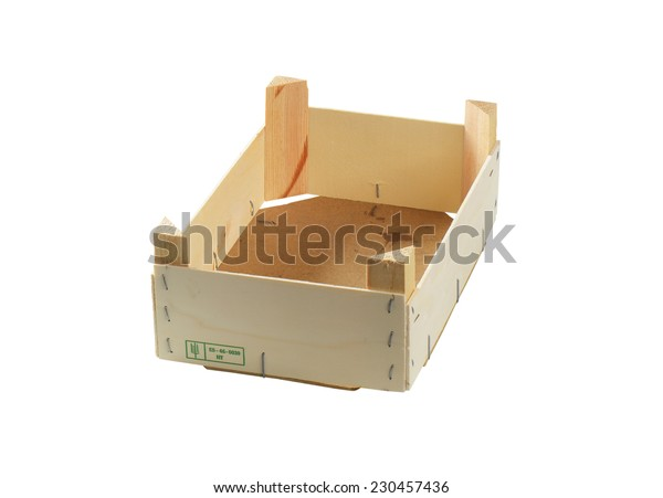 cutout of empty wooden crate on white background