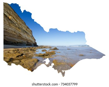 Cutout map of Victoria, Australia with photo of coastline at Jan Juc, Great Ocean Road
