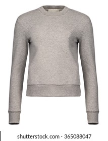 Cut-out of a plain, light grey sweatshirt with rounded collar for women on an invisible mannequin.