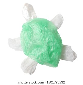 Cutout of a sea turtle formed out of plastic