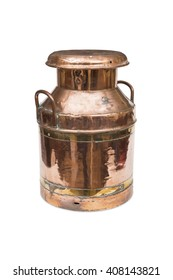 A cut-out of a vintage copper milk churn