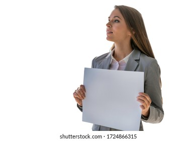 Cutouts of Young attractive businesswoman holding blank white placard