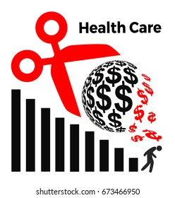 Cuts in Health Care Spending. Concept sign for the proposed cuts to health insurance program in USA and elsewhere