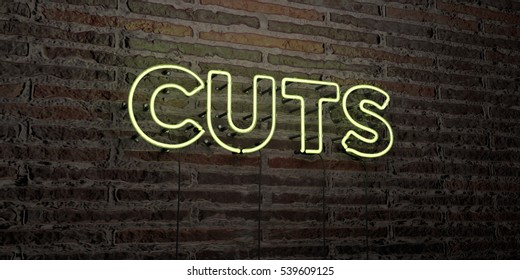 CUTS -Realistic Neon Sign on Brick Wall background - 3D rendered royalty free stock image. Can be used for online banner ads and direct mailers.