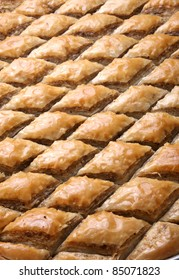 Cutted Baklava in row ready to be served