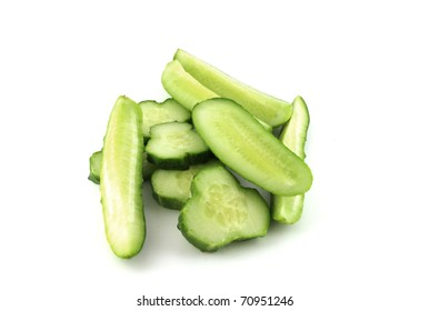 Cutted cucumber over white