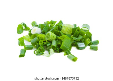 Cutted green fresh onion isolated