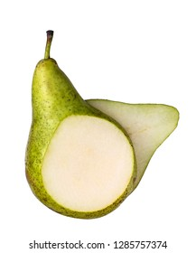 CUTTED GREEN PEAR ON WHITE BACKGROUND