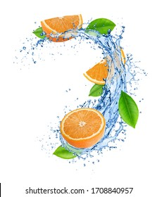 Cutted orange with leaves in water splashes isolated on white background.
