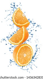 Cutted oranges in water splashes isolated on white background.