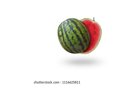 Cutted watermelon isolated on white background with a shadow. Summer fruit
