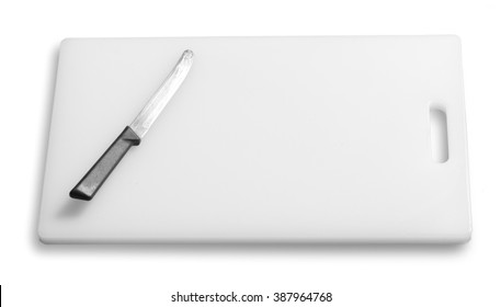 Cutting board and kitchen knife on a white background