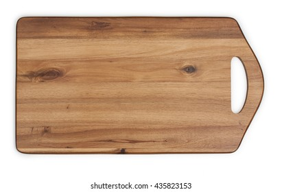 Cutting board made of acacia wood. Close-up, top view.