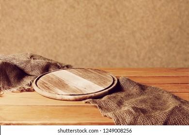Cutting board on sackcloth