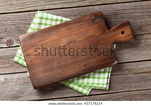 Cutting Board Over Towel On Wooden Stock Photo (Edit Now ...
