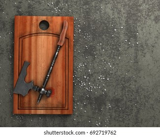 Cutting board with raw brewstock and kitchen ax
