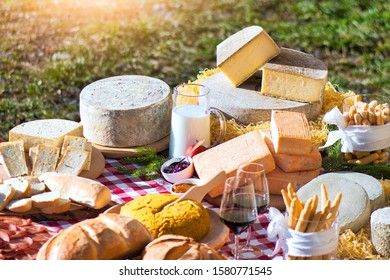 Cutting board of typical Bergamo products from the Taleggio valley. Cheeses. Polenta.
